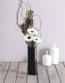 flowers: Monochrome Gerbera Arrangement!