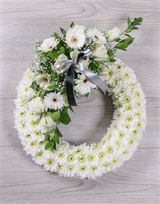 flowers: White Sympathy Wreath!