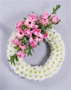 flowers: White and Pink Sympathy Wreath!