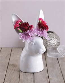 flowers: Mixed Flowers in Rabbit Vase!