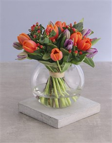 flowers: Mixed Tulips in Round Vase!