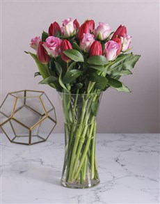 flowers: Red Tulips and Pink Roses in Vase!