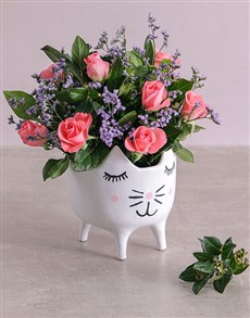 flowers: Pink Sapphire Roses in a Cat Pot!