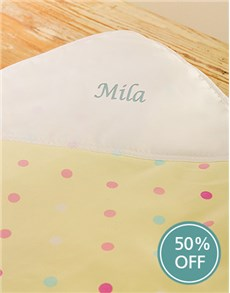 gifts: Yellow Poka Dot Personalised Blanket!