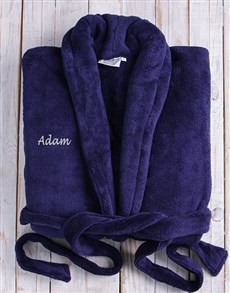 gifts: Personalised Dark Blue Fleece Gown!