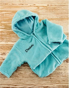 gifts: Personalised Blue Fleece Baby Sleeping Jacket!