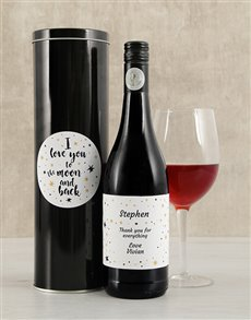 gifts: Personalised Moon and Back Wine Tin!