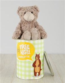 gifts: Personalised Free Hugs Teddy Tin!