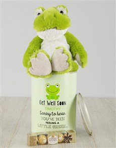 flowers: Personalised Get Well Green Frog Tin!