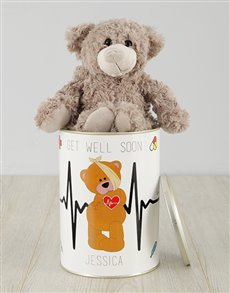 flowers: Personalised Get Well Teddy Tin!