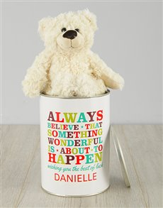 gifts: Personalised Best Of Luck Teddy Tin!