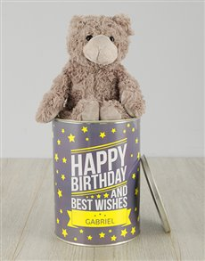 gifts: Personalisied Birthday and Best Wishes Teddy Tin!