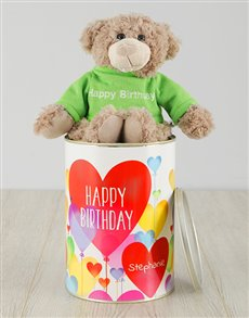 gifts: Personalised Birthday Hearts Teddy Tin!