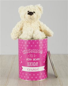 gifts: Personalised Beary Birthday Teddy Tin!