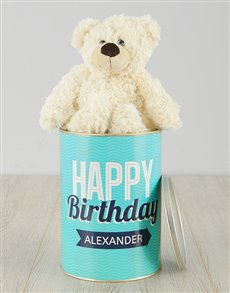 gifts: Personalised Birthday Turquoise Teddy Tin!