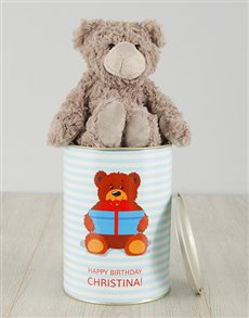 gifts: Personalised Bear Happy Birthday Teddy Tin!