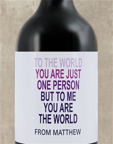 gifts: Personalised The World To Me Wine!