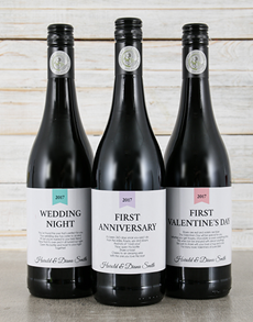 gifts: Personalised Wedding Firsts Wine Trio!