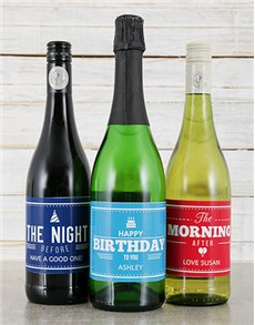 gifts: Personalised Birthday Wine Trio!
