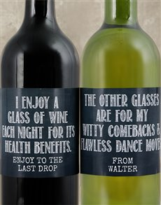 gifts: Personalised Health Benefits Wine Duo!