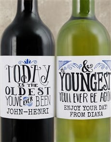 gifts: Personalised Youngest Ever Wine Duo!