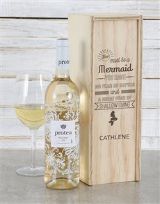 gifts: Personalised Mermaid Wine Crate!