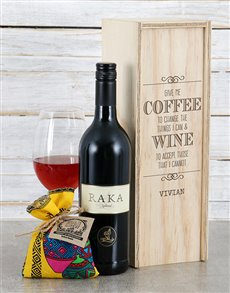 gifts: Personalised Give Me Coffee Wine Crate!