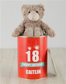 gifts: Personalised Candelit Happy Birthday Teddy Tin!