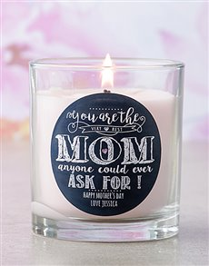 gifts: Personalised Pink Best Mom To Ask For Candle!
