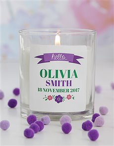 gifts: Personalised Hello New Baby Girl Candle!