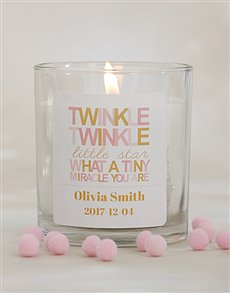 gifts: Personalised Twinkle Twinkle Baby Girl Candle!