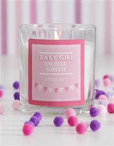 gifts: Personalised Baby Girl Candle!