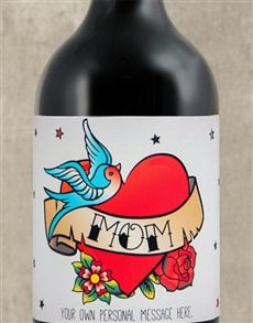 gifts: Personalised Mom Tattoo Wine!