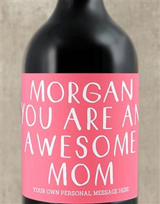 gifts: Personalised Awesome Mom Wine!