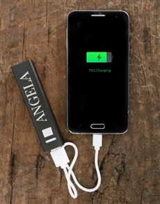 gifts: Personalised Black Powerbank!