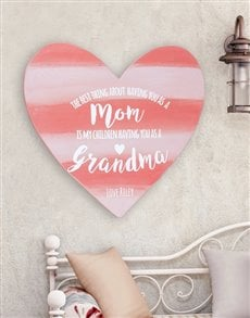 gifts: Personalised Mom and Grandma Wooden Heart!