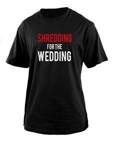 gifts: Personalised Black Shredding Wedding T Shirt!