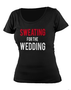 gifts: Personalised Black Sweating Wedding Ladies T Shirt!