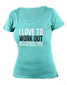 gifts: Personalised Aqua Love To Work Out Ladies T Shirt!