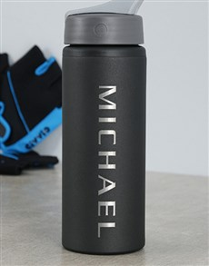 gifts: Personalised Black Aluminum Water Bottle!