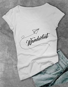 gifts: Personalised Blue Wanderlust Ladies T Shirt!