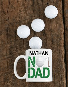 gifts: Personalised Number One Golf Dad Mug!
