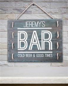gifts: Personalised Bar Good Times Hanging Panel Art!