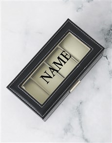 gifts: Personalised Black 4 Holder Watch Box!