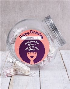 gifts: Personalised Happy Birthday Fro Candy Jar!