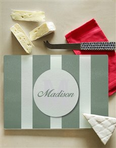 gifts: Personalised Striped Initial Glass Chopping Board!