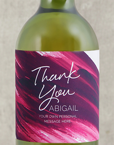 gifts: Personalised Pink Brushstroke Thank You Wine!