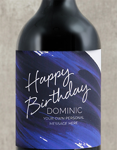 gifts: Personalised Blue Brushstroke Birthday Wine!