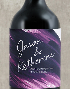 gifts: Personalised Purple Brushstroke Couples Wine!