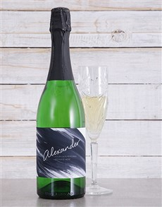 gifts: Personalised Black Brushstroke Bubbly!